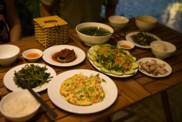 The local dishes for a dinner